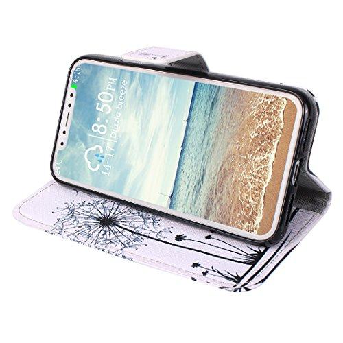 Custodia Moda Per iPhone X, Asnlove PU Pelle Caso Funzione Portafoglio Cover Motif di Colore Cassa Flip Libro Case Bumper Antiurto Protezione Completa Shell Per iPhone X - Colore 5 Colore-3