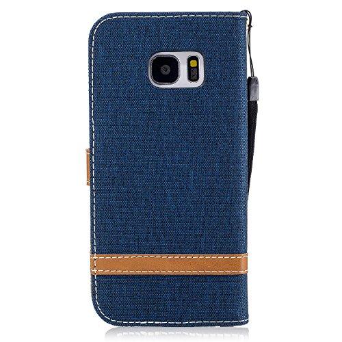 Custodia Galaxy S7 Edge, ISAKEN Flip Cover per Samsung Galaxy S7 Edge con Strap, Elegante Bookstyle Contrasto Collare PU Pelle Case Cover Protettiva Flip Portafoglio Custodia Protezione Caso con Suppo Marrone+blu navy