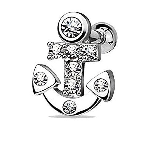 Clear Crystal verkrustet Nautical Sailor Anchor Tragus oder Knorpel Piercing.