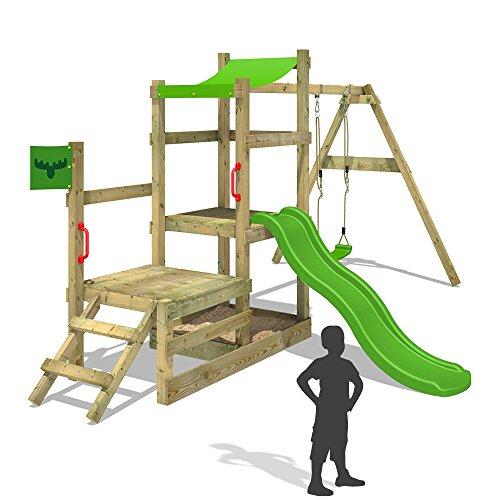 FATMOOSE-Spielhaus-RabbitRally-Racer-XXL-Spielturm-Holz-mit-3-Ebenen-Rutsche-Schaukel-Sandkasten