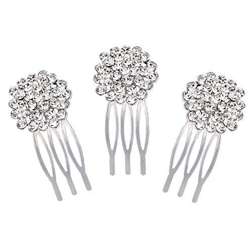 Clearine Damen Böhmisch Blume Cluster Kristall Braut Hochzeit 3 Haarkamm Set Haarschmuck Silber-Ton Klar