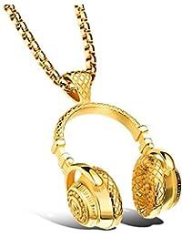 Hombre Novedad Generoso Acero Inoxidable Auriculares De Música Colgante Belcher Cadena Collar