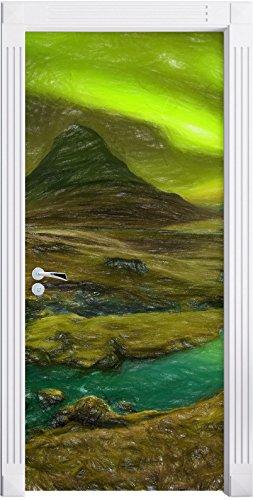 Kirkjufell Wasserfall mit Nordlichtern Kunst Buntstift Effekt als Türtapete, Format: 200x90cm,...