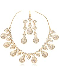 Touchstone Ad Multiple Teardrop Necklace Set With Maang Tika For Women