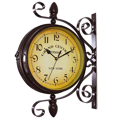 Wanduhren Vintage Double Sided Eisen Metall Silent Quiet Grand Central Station Kunst Clock dekorative Double Faced 360 Grad drehen Antik -