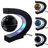 Schwimmende Globus mit farbigen LED-Leuchten C Form Schwerkraft Magnetschwebebahn Rotierende Weltkarte für Kinder Geschenk Home Office Schreibtisch Dekoration (Black)