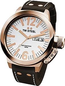 TW Steel CE1017 CEO Canteen - Reloj unisex de cuarzo, correa de piel color marrón de Tw Steel