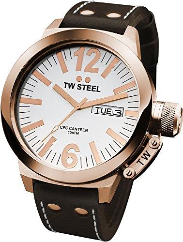 TW Steel CE1017 CEO Canteen - Reloj unisex de cuarzo, correa de piel color marrón