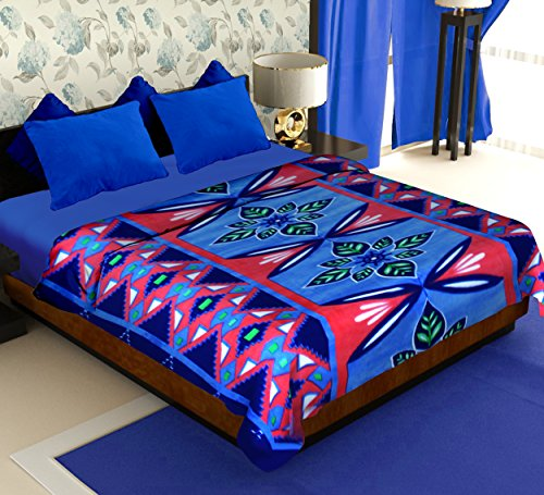 Story@Home Coral Collection Soft Printed Fleece Polyester Double Bed Blanket - Blue  available at amazon for Rs.299