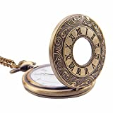 Kartique Analogue White Dial Men's Half Hunter Pocket Watch with Chain and Wooden Box - POCWATROMAN_1