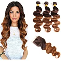 Ombre Brazilian Virgin Hair Body Wave With Lace Closure, Elees Hair Remy Human Hair 2 Tone, Ombre Hair Extensions Weave Weft With Mixed Length High Quality 7A Grade (12 14 16+10, T4/30)