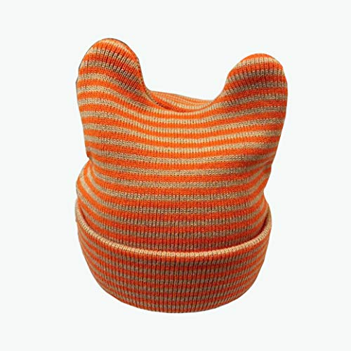 Baby Strickmütze, Cat Ear Strip Cap Gestreifte Baumwolle Cap Baby Earmuffs Strick Kappe Kind Warm Hat Baby Wool Cap Kids Polka Dot Cap (10 Monate-4 Jahre Alte Kinder),Orangeandgraystripes -