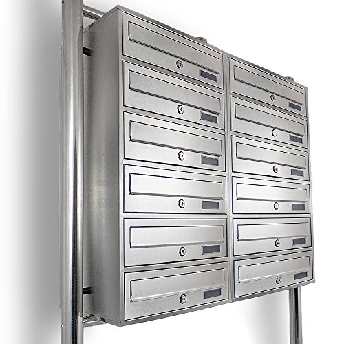 Edelstahl Stand-Briefkastenanlage Postkasten Letterbox Mailbox Doppelt mit 12 Fächer - 3