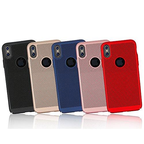 Meimeiwu Alta Qualità Ultra Sottile Leggera [Morbido tocco] Antiscivolo Duro PC Shell Slim Custodia Per iPhone X - Rosso Blu