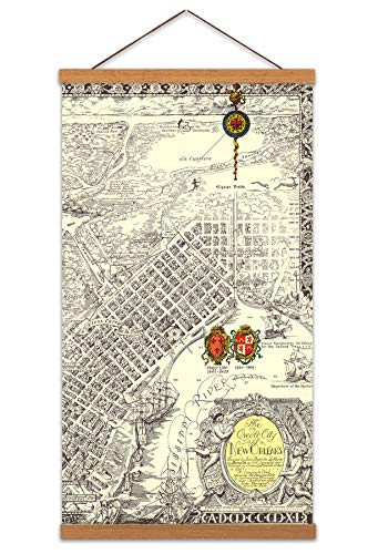 Map Curtis 1930 Creole City New Orleans Canvas Wall Art Print Magnetic Hanger Clip Frame 24X12 Inch Karte Stadt Wand