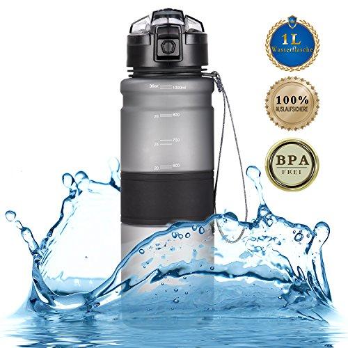 Trinkflasche 1l Wasserflasche 1000ml Sport Tritan Sportflasche Freigetestet BPA frei und auslaufsicher—für Schule, Büro, Fahrrad, Gym, Yoga, Camping, Outdoor, Wander, - Liter 1 Metall-wasser-flasche