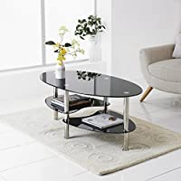 Neotechs® Modern Black Glass & Chrome Oval Living Room Coffee Table With 2 Shelves