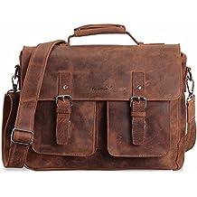 2d62600958139 Packenger Kolbjorn Umhängetasche Messenger Bag Bis 15 Zoll aus Leder  Umhängetasche