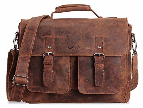 Packenger Kolbjorn Messenger bis 15 Zoll aus Leder Umhängetasche, 38 cm, Cognac Braun (Aktentasche Rindsleder)