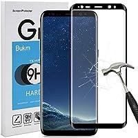 Galaxy S8 Protecteur d'écran, Bukm Samsung Galaxy S8 Film Protection en Verre Trempé écran Protecteur Vitre Haute Définition 9H Dureté Anti Rayures 3D Incurvé en Verre Trempé pour Galaxy S8 (Noir)