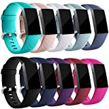 Zekapu For Fitbit Charge 3 Strap, Adjustable Classic Replacement Wristband with Classic Aluminum Alloy Buckle Compatible for Fitbit Charge 3 Activity Tracker, Small 10Pack