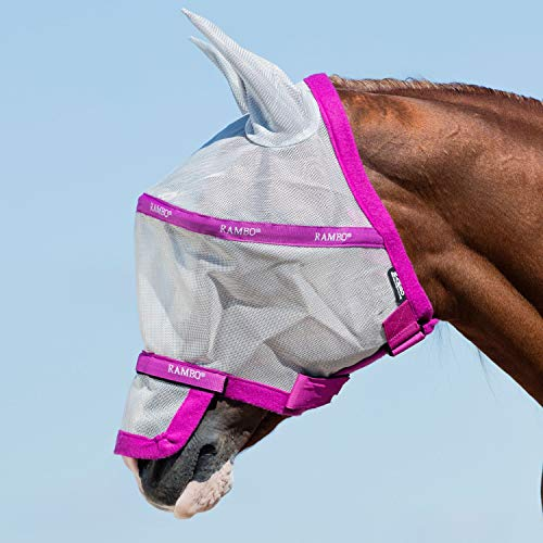 Horseware Rambo Plus Fly Mask Vamoose Fliegenmaske Silver/Purple Small Pony / Pony / Cob / Horse (Small Pony) -