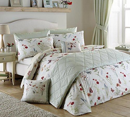 Duvet-set Salbei (Land Tagebuch Multi Floral Vogel und Schmetterling Print wendbar Baumwollmischung Bettbezug-Set mit passenden Kissenbezügen, Polycotton, multi, Duvet Cover Set (King Size))