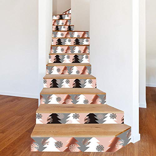 LIZHIOO Treppenaufkleber Weihnachten Dress Up Treppenaufkleber Weihnachten Kiefer Farblich Passende Treppen Dekorative Wandaufkleber (100cm*18cm) 6pcs