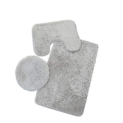 ACVIP 3-teiliges Badezimmerteppich-Set,Einfarbig Rutschfeste Badematte + Deckel WC-Abdeckmatte + U-Form-Matte(Grau)