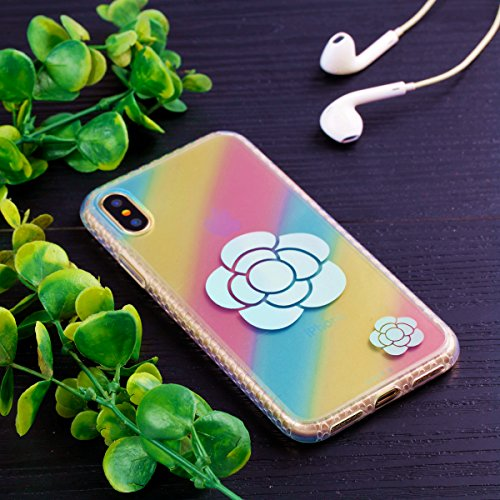 Cover Apple iPhone X, Voguecase Custodia Silicone Morbido Flessibile TPU Custodia Case Cover Protettivo Skin Caso in IMD design (fiore Skull 06) Con Stilo Penna Girasole 01