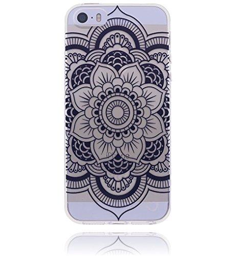 Apple iPhone 6 / 6S Hülle Burkley Silikon Schutzhülle | Mit Motiv | Handyhülle | Cover | Case | Tasche | Hülle mit Motiv Mandala Medallion Mandala Flower