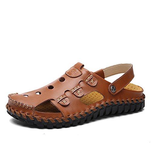 Shaoeo Esterna Di Estate Spiaggia Sport Scarpe In Pelle Uomo Sandal Toe Casual In Pelle Dello Strato Di Gel Reddish brown