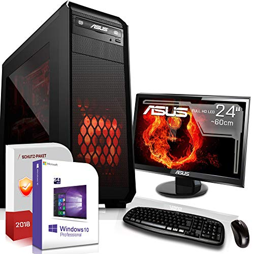 Gamer PC mit Monitor AMD FX-8300 8x3.3GHz |ASUS Board|24 Zoll TFT|16GB DDR3|1000GB HDD|Nvidia GT730 4GB HDMI|DVD-RW|USB 3.0|SATA3|Sound|Windows 10 Pro|GigabitLan|3 Jahre Garantie|Made in Germany|Mult -