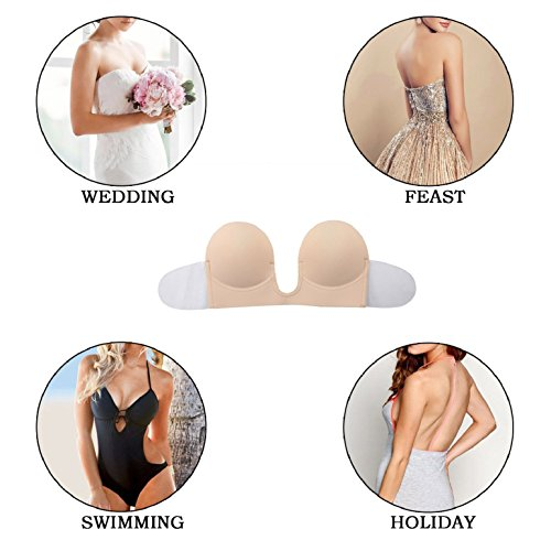Heekpek® Trägerloser BH Silikon Selbstklebend Unsichtbar Klebe-BHs Push Up für Frauen Beige