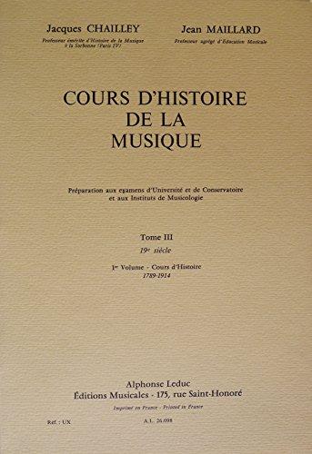 Cours d'histoire de la musique, tome 3, volume 1