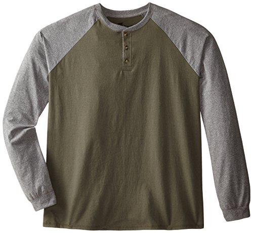 Hanes Herren Langarmshirt Beefy Henley - Mehrfarbig - XX-Large (Tagless Xxl Hanes T-shirt)