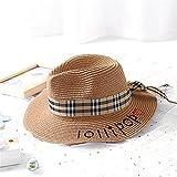 Fashion cap Sombrero de Paja Sombrero de Paja de la Señora del Verano Letras Bordadas Femeninas Lindas sombreador de Sol Lindo Protección Solar Sombrero del Sol, de Color Caqui