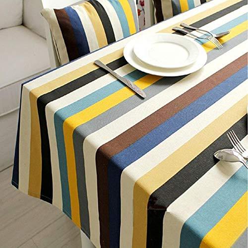 hanxuanzhuanmai Tischdecke Stoff leinwand Streifen tischdecke Mode kleine frische büro, blau grau Breiten Streifen 145 * 220 cm -