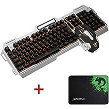 LexonElec® Combo de teclado y ratón K38 Gaming Cableado naranja LED Retroiluminado Multimedia Teclado ergonómico USB Teclado para juegos de metal Waterproof + Breathe Light 3200DPI 6 botones Sistema de mouse óptico para jugador + Mousepad (K-38 / Plata negra)