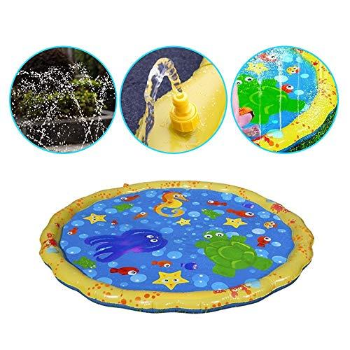 Wokee Splash Pad Tapis de Jeu pour Enfants saupoudrer rempli avec des Jouets d'eau intéressant Pad Facile à Plier grondement pour Transporter Coussin d'air intérieur extérieur pour Enfants (Jaune)