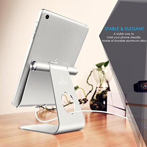 iPad Ständer Verstellbare, Lamicall Tablet Staender : Universal Halter, Halterung, Dock, Wiege für iPad Pro 10.5 / 9.7, iPad Air 2 3 4, iPad mini 1 2 3 4, Samsung Huawei E-Reader und Google Nexus 7 10 4 Tablette Schreibtisch, andere Tab Smartphone 5''-13'' - Silber - 2