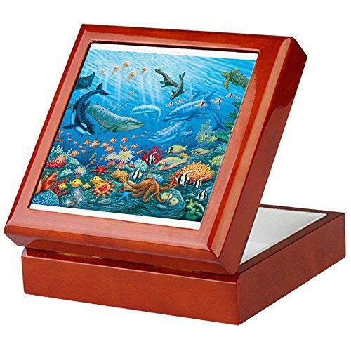 CafePress-oceanscape-Keepsake Box, fertig Hartholz Jewelry Box, Samt Gefüttert Memento Box mahagoni -