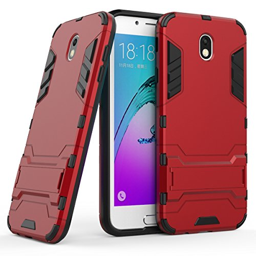 Galaxy J7 2017(European Version) H¨¹lle,EVERGREENBUYING Abnehmbare Hybrid Schein SM-J730F Tasche Ultra-d¨¹nne Schutzh¨¹lle Case Cover mit St?nder Etui f¨¹r Samsung GALAXY J7 (2017) Rot Rot