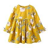 Vestidos fiesta princesa zycShang Toddler Kids Baby Girl Clothes Bowknot floral de manga larga (100, Amarillo)