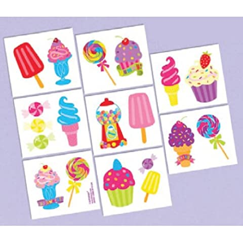 Amscan Egg-stra Special Easter Party Sweet Treats Scented Temporary Tattoo Favors , 2 x 1 3/4, Multicolor by Amscan