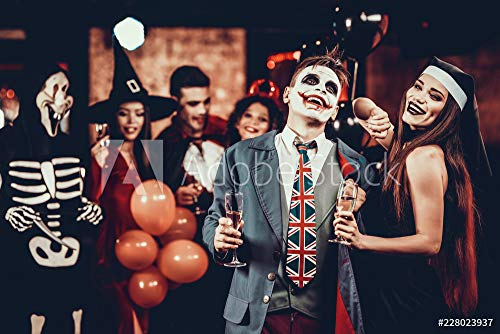 druck-shop24 Wunschmotiv: Young Smiling Couple in Halloween Costumes Dancing #228023937 - Bild als Foto-Poster - 3:2-60 x 40 cm / 40 x 60 cm (Halloween Stock-fotos Costume)