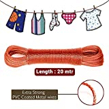#6: Moira 20 Meter PVC Coated Steel Anti-Rust Wire Rope Washing Line Clothesline with 2 Plastic Hooks(Assorted Colors) (2)
