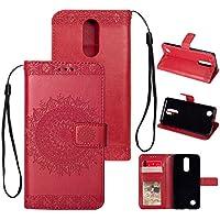 Yobby Leder Brieftasche Hülle für LG K10 2018, LG K30 Rot Handyhülle Geprägt Mandala Muster Schlank Premium PU... preisvergleich bei billige-tabletten.eu