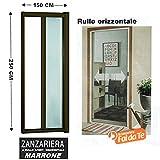 Webeingstore Zanzariera a rullo in alluminio per porte/balconi con profilo riducibile/regolabile avvolgimento orizzontale 150x250cm Marrone
