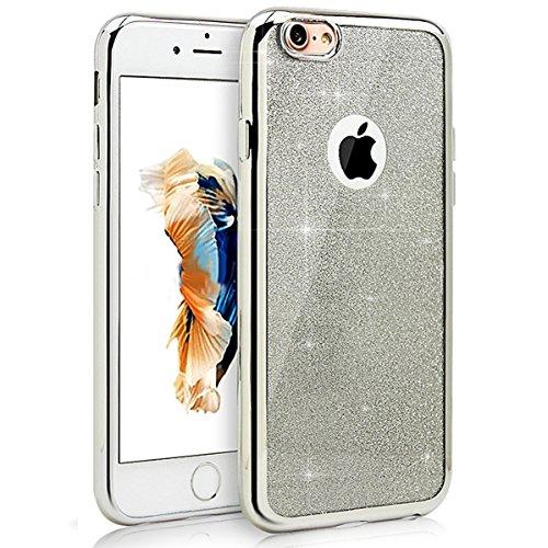 Custodia in Molle Rubber per Apple iPhone 7 4.7(NON iPhone 7Plus 5.5), CLTPY Particolari Speciale Plating Frontiera Chiaro Caso Morbido con Shiny Flash Rhinestone Design, Ultra Fine Elegante di Luss Argento